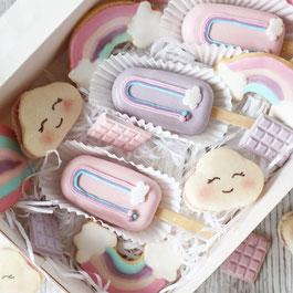 Regenbogen Cookies und Cakesicles