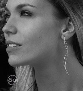 Boucles d'oreilles en argent chaine longue création