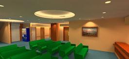 3次元CGで病院のロビーをシミュレーション