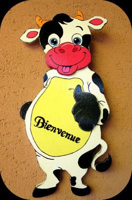 """Vache en bois """" Bienvenue """""""