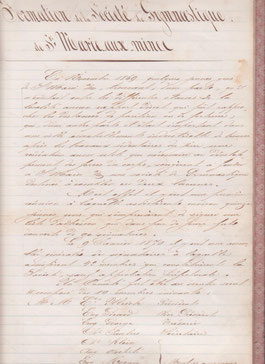 DOCUMENT ORIGINAL DE LA REUNION DE FORMATION DE NOTRE  SOCIETE EN 1869