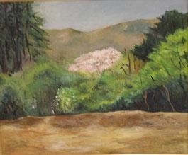 高安山(桜のころ) 油彩12号
