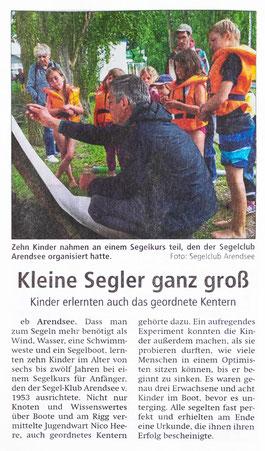 Presseartikel zum Opti-Segelkurs aus der Altmarkzeitung vom 16.06.2017