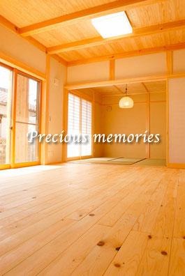 岐阜県多治見市の建築工事竣工写真です。木の香を感じる木造住宅の和室写真です。