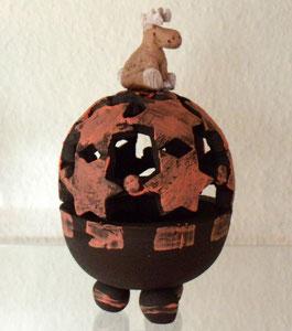 Keramik, Ton, Räucherkugel, Elch, Rentier, Weihnachten, Geschenk, Tierfigur, Tierskulptur, modelliert,
