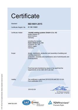HAANE welding systems ISO 9001 certificate