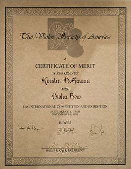 3. Preis beim Internationalen Geigen- und Bogenbauwettbewerb der VSA (Violin Society of America) für einen Violinbogen von Kerstin Hoffmann
