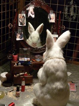 ロンドンを中心に活動する覆面芸術家・バンクシーの作品「化粧をするウサギ」  Photo by Animal testing / johnmcga