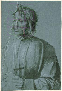 (31) Albrecht Dürer, L'architetto Hieronymus von Augsburg, 1506, pennellata nera, bianco accentuato, su carta blu, 39,1 x 26,7 cm, n. invent. KdZ 2274, Gabinetto incisioni su rame / Staatliche Museen Berlino
