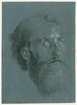 (28) Albrecht Dürer, Head of an Apostle Turned to the Right, 1508, brush in black heightened with opaque white on green prepared paper, 18.7 x 20.7 cm, inv. no. KdZ 14, Kupferstichkabinett / Staatliche Museen zu Berlin