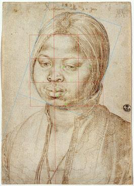 (30) Albrecht Dürer, La mora Caterina, 1521, disegno con punta d'argento, 20,1 x 14,1 cm, Gabinetto Disegni e Stampe degli Uffizi / Firenze