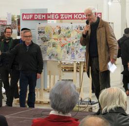 Adolf Muschg, Balthasar Glättli und Hannes Reiser, Gründungsmitglied von Longo maï anlässlich der Vernissage in der Shedhalle