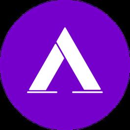 Logo: pinker Kreis mit weißem Zelt in der Mitte
