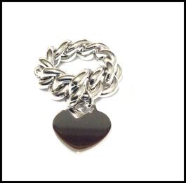 Anelli in argento groumette semivuota e cuore