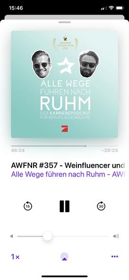 Screenshot des Podcast Alle Wege führen nach Ruhm