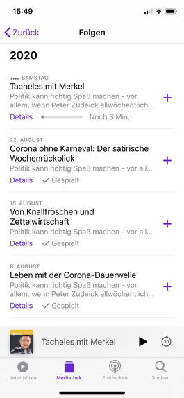 Screenshot des Podcast Der satirische Wochenrückblick