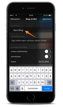 Bild: Jimdo-App iOS Blog-Titel bearbeiten