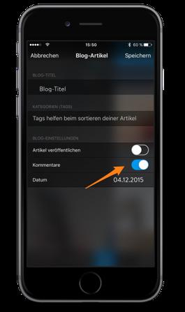 Bild: Jimdo-App iOS Blog-Kommentare einstellen