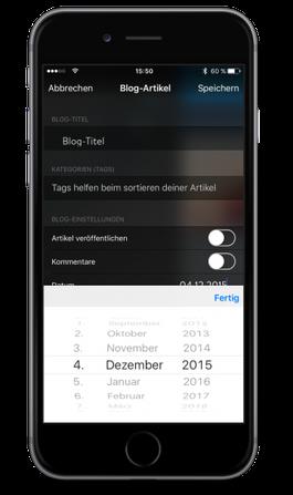Bild: Jimdo-App iOS Blog-Datum einrichten