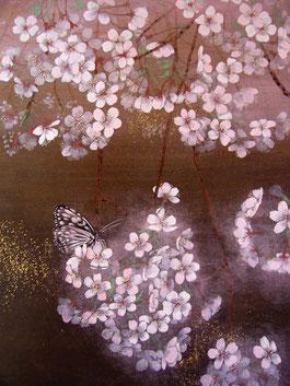 「春夜に咲く妖精」 紙本岩彩・金箔 F6