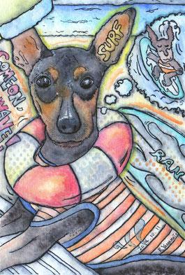 原画:HE IS BEST DOG SUREFER(犬:ミニチュアピンシャ)