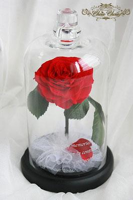 プロポーズ 一輪の薔薇 プリザーブドフラワー ガラスドーム  美女と野獣 オーダーフラワー  刻印 シュシュ chouchou 配送 販売