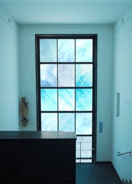 Fenster- Installation im Treppenhaus, Schweizerisches Alpines Museum
