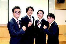 優勝した「酢CONBU」の(左から)米盛翔矢君、入松田大志君、與那覇星夜君、我喜屋貴哉君=12日、八重山商工高校