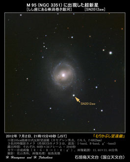 石垣島天文台が2日に撮影したM95にある超新星(SN2012aw)(提供写真)