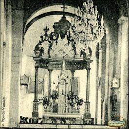 Intérieur de l'église de Montsalvy - Cl. L. Montarnal - Ed. Garrouste - Carte postale ancienne (détail) - Coll.B.C./Musée du Veinazès