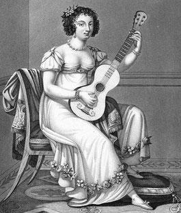 Gitarrenschülerin mit Chemise, in: F. Molino: Nouvelle Méthode Complette. 1814.