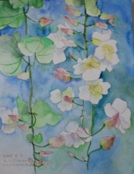 一枚の水彩画 ハワイヒルトンホテルロビーに咲く花