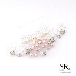 Haarschmuck Haarnadel rosa rose Perlen handgefertigt