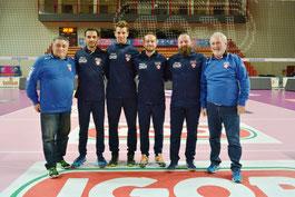 Lo staff tecnico e i dirigenti della Serie C