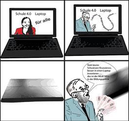 Laptop kaufen, statt schwänzen! Grafik:spa