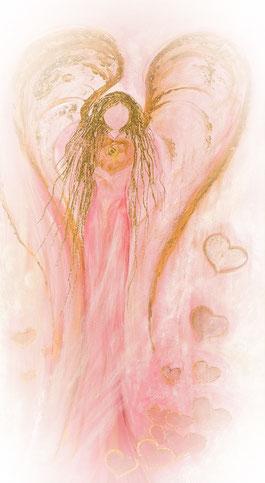 Engelbild Erzengel Chamuel gemalt Acryl auf Leinwand