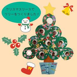 リースでクリスマスツリーをつくりました!