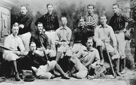 """Nella foto la squadra dei Cincinnati Reds che dopo essere stata espulsa dalla National League fu ammessa all'American Association e fu sarcasticamente nominata """"Beer and Whiskey League"""""""