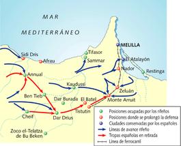 Mapa de la Guerra del Rif.
