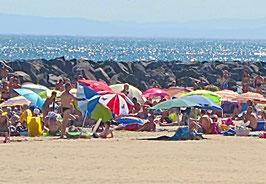 Strand, Sonnenschirm, Felsen, Meer