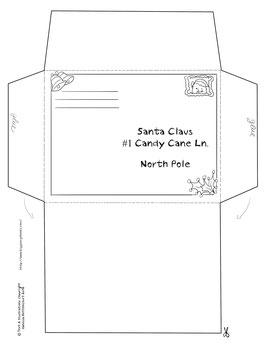 free printable envelope Christmas santa claus letter kindergarten ...