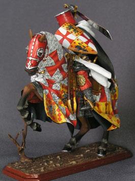 """Figurine représentant Guillaume de Sonnac avec les armes des """"de Saunhac"""" du Rouergue"""