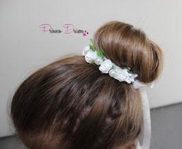 Kommunionkranz Blütenkranz Haarband Haarschmuck Haarkranz Blumenschmuck Blumen Blüten Kranz Taufe Kommunion Kränzchen Duttkranz Fotoshooting  weiß Kommunionkerze Kommunionkleid