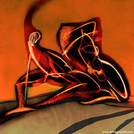 """""""COLORS : Le danseur, étude de mouvement"""", dessin au fusain et colorisation numérique, Anne Grandin"""