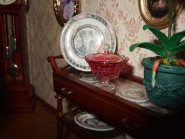 Detalle del salón.Bowl de cristal de Phil Grenyer(comprado en la feria de Kensington)