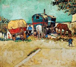 Les Roulottes ou campement de bohémiens aux environs d'Arles.Vincent Van Gogh.1888