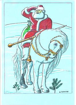 Красный Дед Мороз на коне
