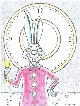 образцовый новогодний кролик с шампанским