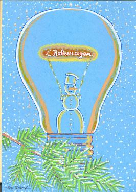 снеговик в лампочке -2