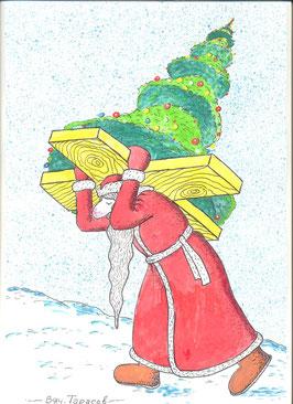 мороз несет свой крест-ёлку